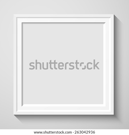 White rectangular photo frame with shadow on a wall. Eps10 Vector ...