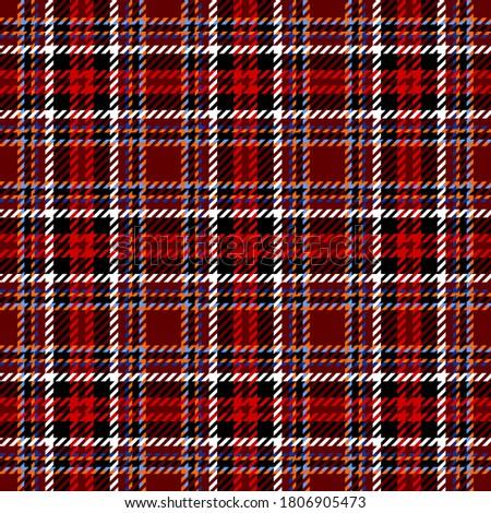 white red black and blue tartan