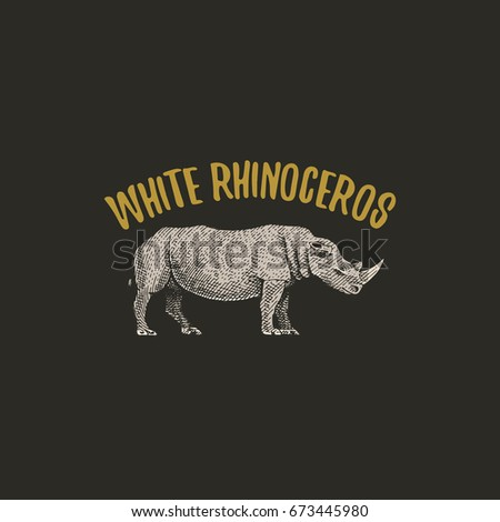 white rhinoceros engraved hand drawn in old sketch style, vintage animals. logo or emblems, retro label and badge.