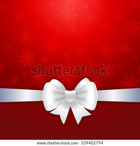 White ribbon and bow on red background. Vector illustration for Christmas posters, icons, Christmas greeting cards, Christmas print and web projects.