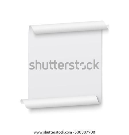 White ribbon. Banner. Poster. Paper scroll. Vector illustration.
