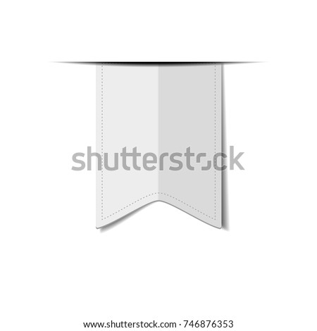 White ribbon or bookmark  isolated on a white background