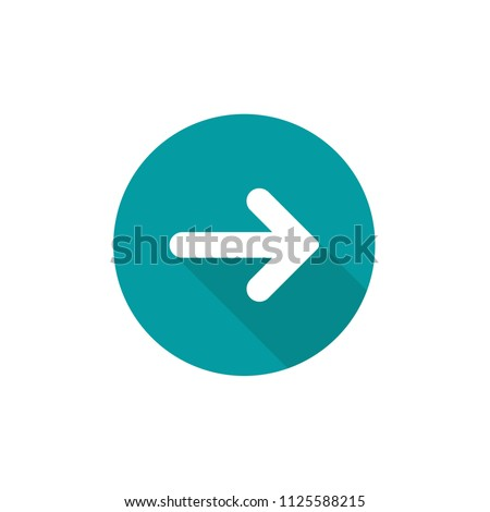 white right rounded arrow with shadow in blue circle icon. Isolated on white. Continue icon.  Next sign. East arrow.