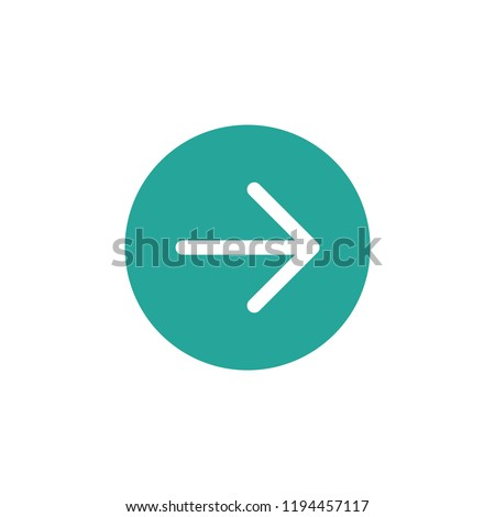 white right thin arrow in blue circle icon. Isolated on white. Continue icon.  Next sign. East arrow.