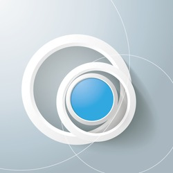 White rings with blue circles on the grey background. Eps 10 vector file.