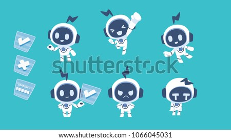 white robot character mascot