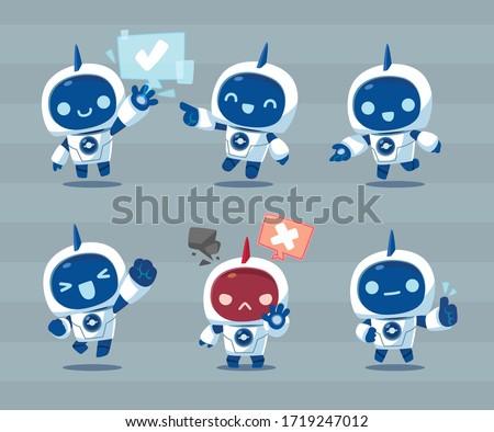 white robot mascot character action set
