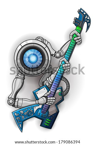 stock-vector-white-robot-with-guitar-isolated-on-white-vector-illustration