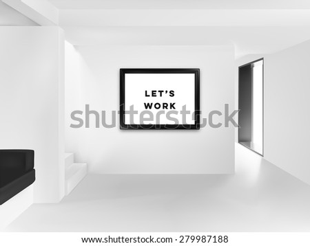 white room with big poster on