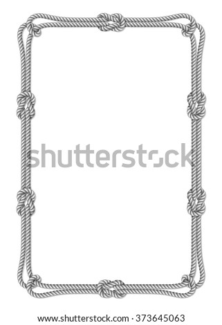 White rope woven vector border with rope knots, vertical vector frame, isolated on white