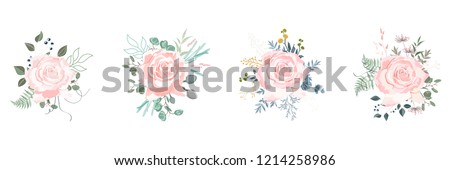 White rosa canina, garden flowers, berries, greenery and herbs vector set. White background for wedding save the dates. #1214258986
