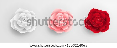 White rose, pink roses, red roses. Roses cut from paper. Wedding decorations. Greeting card template, blank floral wall decor. Background. Illustration