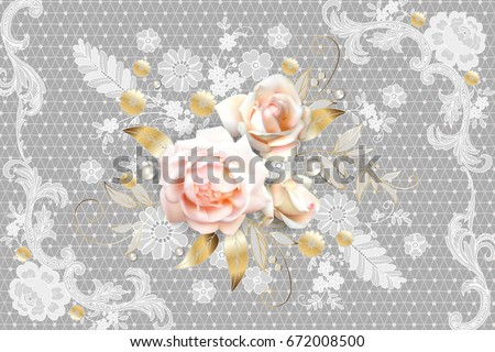 White roses with Belgian lace element 5