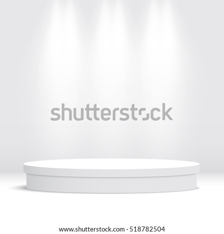 White round empty podium. Pedestal. Scene. Vector illustration.