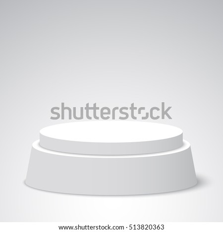 White round podium. Pedestal. Scene. 3D. Vector illustration.