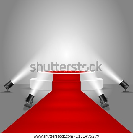White round stage podium with red carpet illuminated by floor spotlights. Vector realistic illustration. Podium spotlight background.