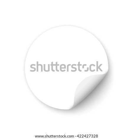 White round sticker. Banner. Curled paper. Vector illustration. #422427328