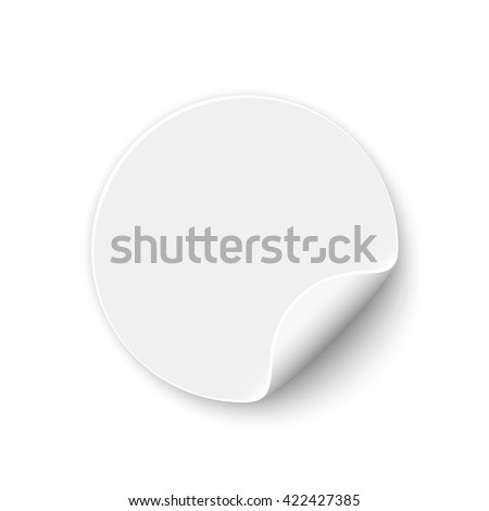 White round sticker. Banner. Curled paper. Vector illustration.