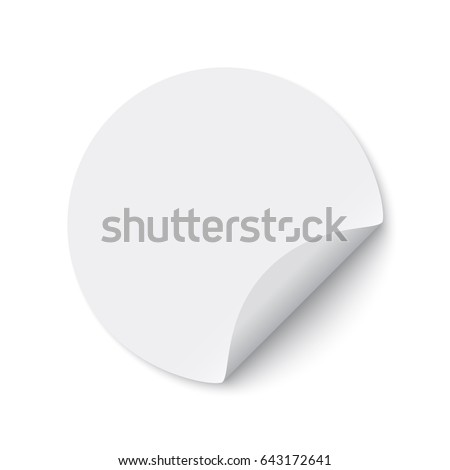 White round sticker. Curled paper. Vector illustration. #643172641
