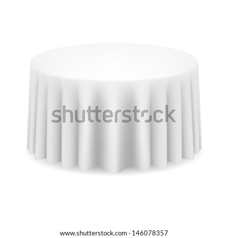 White round table with tablecloth. Illustration on white