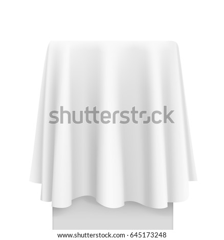 White round tablecloth draped over a table. Vector illustration on white background