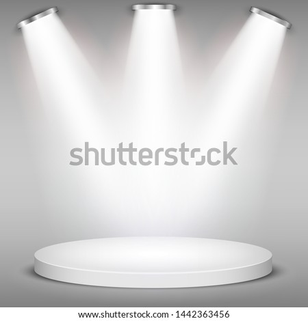 White round winner podium on gray background. Stage with studio lights for awards ceremony. spotlights illuminate. Vector illustration.