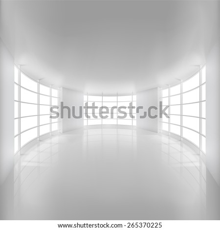 white rounded room illuminated