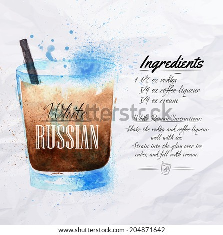 white russian cocktails drawn