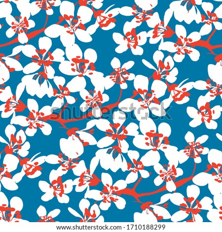 White sakura blossom on classic blue background. Floral seamless pattern for background, fabric, textile, wrap, surface, web and print design. Hand drawn flowers rapport.