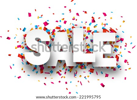 White sale sign over confetti background. Vector holiday illustration.