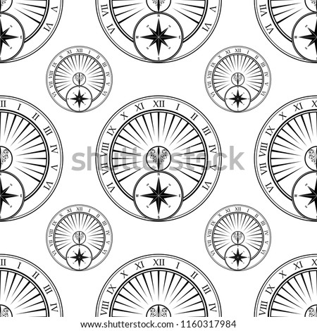 White seamless background with black sundial elements