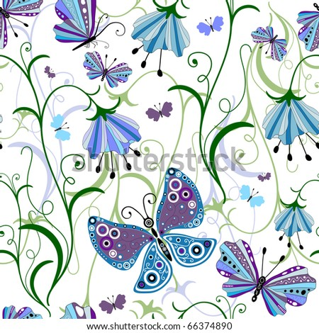 White seamless floral pattern with blue-violet flowers and butterflies (vector) - stock vector