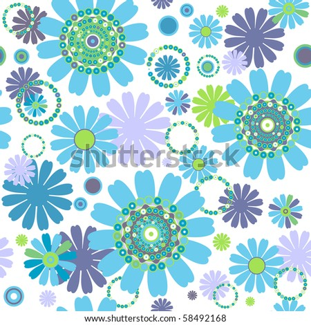 White seamless floral pattern with flowers and colorful circles (vector)