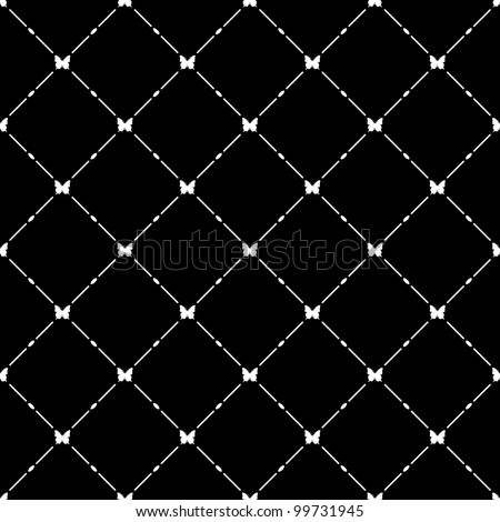 White seamless pattern with butterfly symbol on black, vector, 10eps.