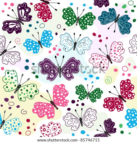 White seamless pattern with colorful butterflies and spots (vector)