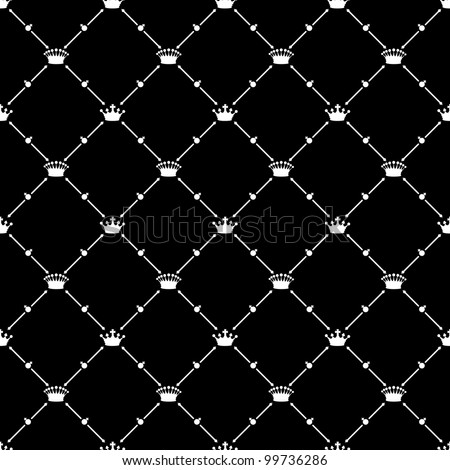 White seamless pattern with crown symbol on black, vector, 10eps.