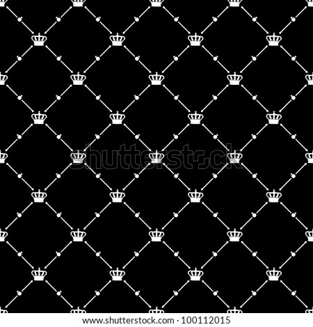 White seamless pattern with king crown symbol on black, 10eps.