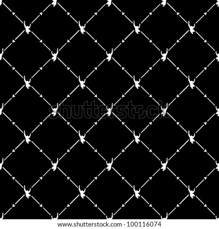White seamless pattern with monkey symbol on black, 10eps.