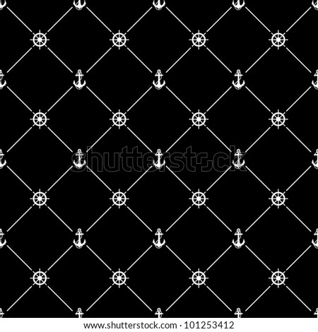 White seamless pattern with ships wheel and anchor symbol on black, 10eps.