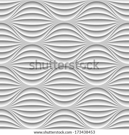 stock vector white seamless texture wavy background interior wall decoration d vector interior wall panel 173438453 - Каталог — Фотообои «3D Текстуры»