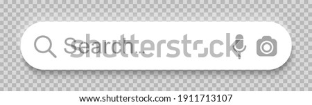 White search bar web page internet browser button, search box template isolated, search box with shadow on transparent background - stock vector
