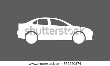 white sedan car icon heading