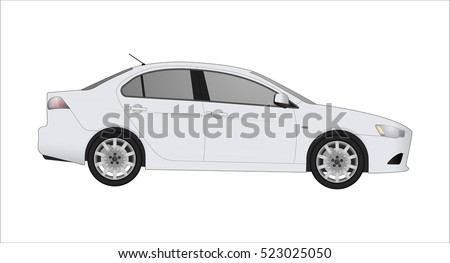 white sedan car  isolated on