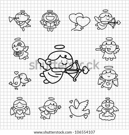 White series | Hand drawn Angel icon set