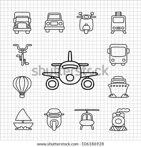 White Series | Hand drawn Car,Transportation icon set