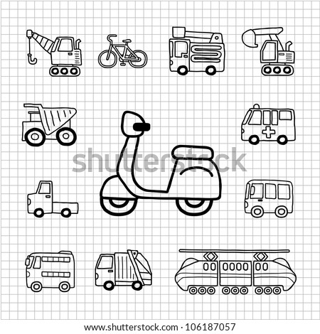 White Series | Hand drawn Car,Transportation icon set