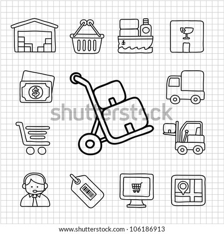 White Series | Hand drawn Delivery,Shopping icon set