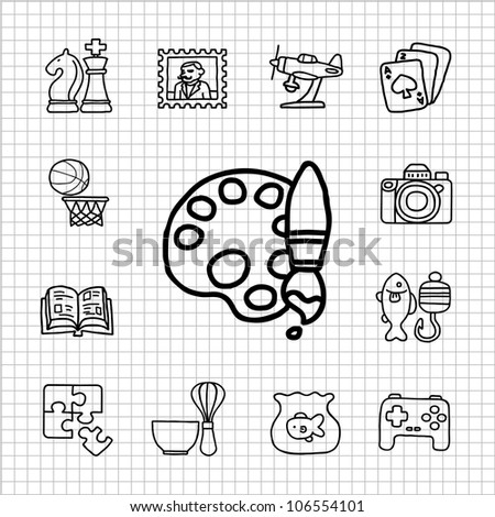 White Series |  Hand drawn  Hobby icon set