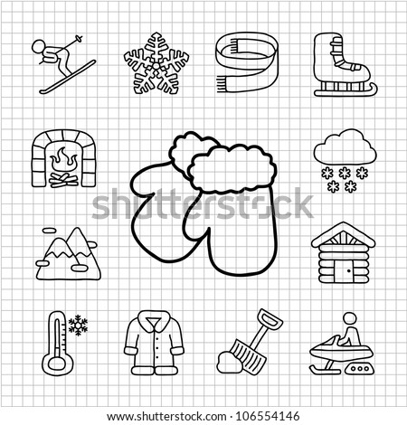 White Series | Hand drawn Winter , Season , icon set - stock vector