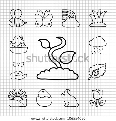 White Series - Spring,season  icon set - stock vector